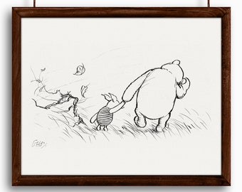 Blustery Day - Winnie the Pooh and Piglet - Printable Art - Nursery Art Print - Instant Download