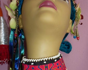 Woven Tribal Choker, Vintage Pink Chowker Necklace, Tribal Fusion, Hippie, LARP, Cosplay