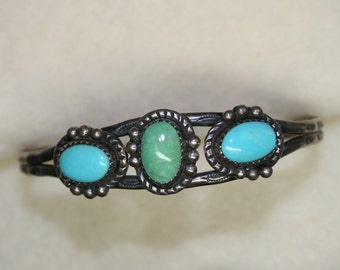 Vintage 1950's Sterling Silver Genuine Turquoise | 3 Stone Cuff Bracelet | Native American | Southwest Design | Navajo