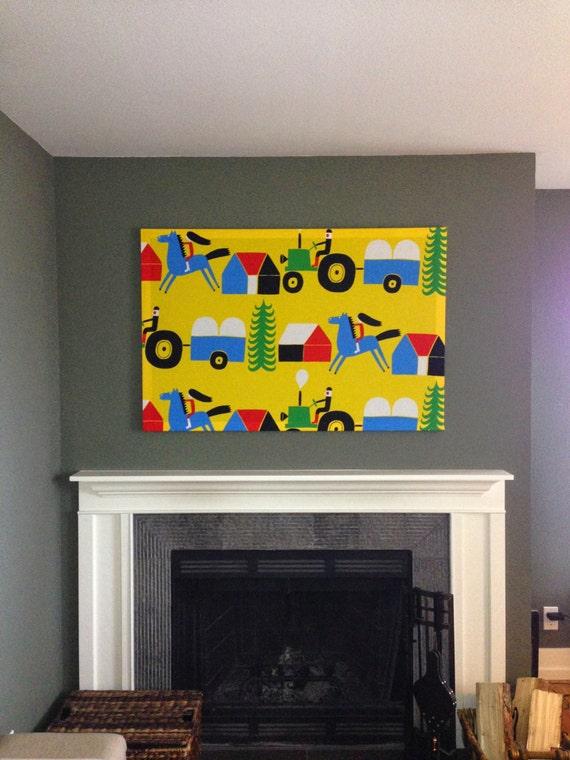 Items similar to Marimekko \'Raitti\' Large Fabric Panel Wall Art on Etsy