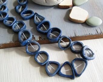 Blue bone beads, triangle freeform round donut shape , irregular bead frame, Rustic ethnic ( 10 beads ) 6db4-4