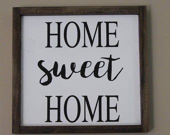 Home sweet home sign ~ wooden sign ~ farmhouse ~ gallery wall ~ hand painted sign