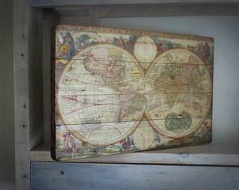 World Map on wood, Rustic wall Decor, Map on wood, Globe/Earth Map, Wooden World Map, Wooden wall decor, Handmade