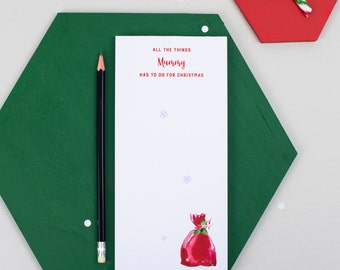 Personalised Christmas To Do List Notepad | Christmas Shopping | Stocking Filler | Mum's Christmas List | Nice List | Grocery List |Holidays