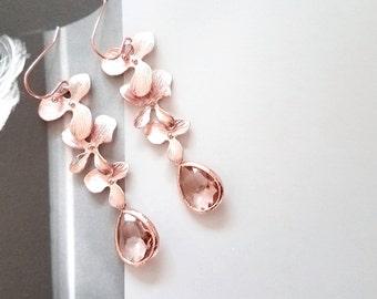 Rose Gold Earrings, Peach Champagne Earrings, Orchid Earrings, Flower earrings, Wedding, Mother, Sister, Wife, Bridesmaid Gift