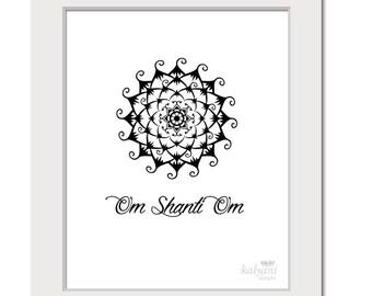 ART PRINT Om Shanti Om Mandala - yoga art print, black and white poster, inspirational art, spiritual art, indian art, om aum, printable art