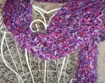 Fun Funky Purple Haze Handmade Knit Scarf with Fringe