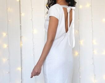 SEQUIN WEDDING DRESS, sequin white dress, second wedding dress, unique wedding dress, v neck ivory bridal dress, flapper wedding party dress