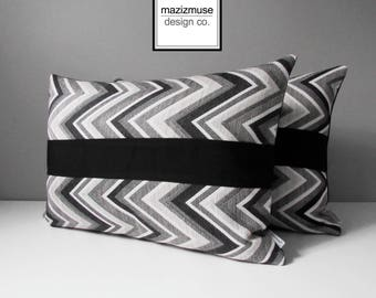 Sale, Set of TWO Grey Black & White Chevron Pillow Covers, Decorative Outdoor Pillow Covers, Geometric Sunbrella Cushion Covers