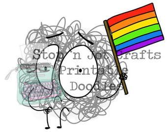 Pride Anxiety Buddy Printable Clip Art