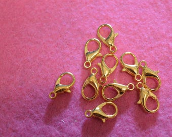 Set of 10 gold snap fasteners