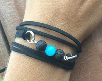Lava Bead Diffuser Bracelet | Essential Oil Diffuser Jewelry | Vegan Aromatherapy Bracelet | Boho Wrap Bracelet