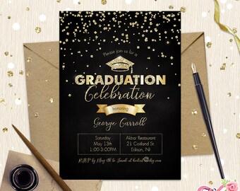 Graduation Party Invitation. Senior Boy Girl. Graduation Announcements Celebration. Class of 2018. Square Oxford Cap. Glam Black Gold Silver