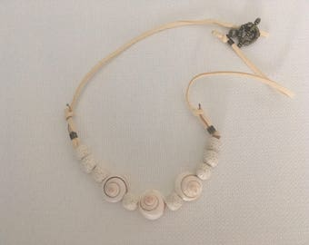 White Shell and Lava Stone Beads Faux Leather Necklace