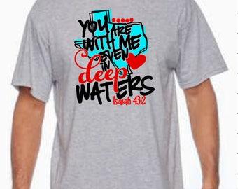 Hurricane Harvey Disaster Relief, Heart, Texas, Deep, Waters, Isaiah, Donation, T-shirt