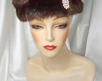 Brown Faux Fur Pillbox Hat with Rhinestone Brooch, Russian Zhivago Style Fur Hat, Mr. Selfridge and Downton Abbey Inspired