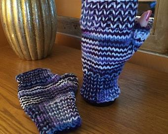 Purple impressions fingerless gloves