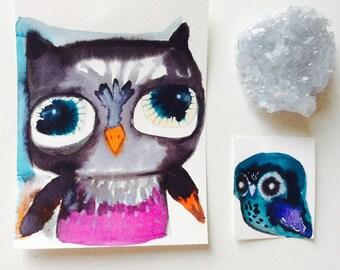 Owl painting - Watercolor owl, original painting, animal watercolor, illustration, owl spirit animal, sweet and precious, whimsical owl