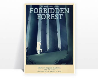 Retro Travel Poster - Harry Potter - Forbidden forest - MANY SIZES - Modern Vintage Magic Wizard Geek Film Typography Print