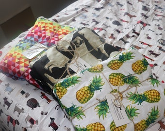 Handmade Pet / dog / cat blanket / mat cotton and minky fleece - pineapples, pugs, triangles, dogs, feathers, fish scales