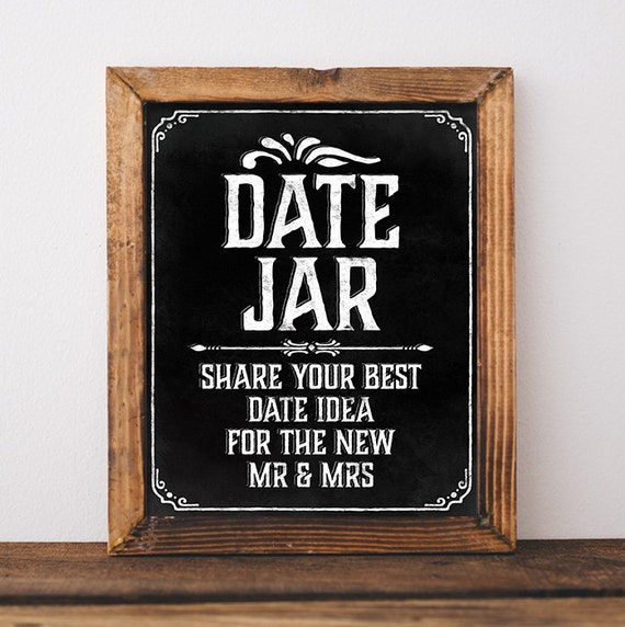 Wedding Chalkboard Sign. Printable Wedding Date Jar Sign