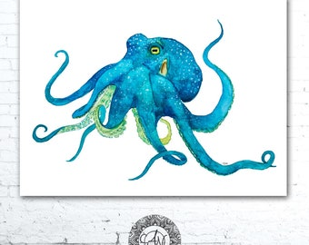 Blue Octopus Watercolor Print, Octopus Painting, Octopus Print, Watercolor Octopus, Under Sea Nursery, Nature Art, Sea Creature Nursery