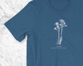 August Birthday T-Shirt, Birth Flower Vintage Botanical Illustration Birthday Gift for Her, Mom Gift of Child's Birth Flower, Gladiolus