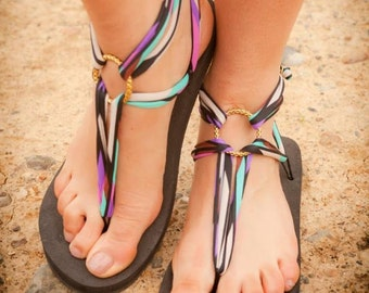 Printed Lace Sandals -  - Customizable and Interchangeable