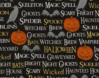 Halloween Words Fabric Fat Quarter, Third Yard, Half Yard, or By The Yard; C5241; Novelty Fabric; Timeless Treasures; Wicked; Hocus Pocus