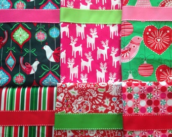 Made to Order - Design Your Own Set of Christmas Stockings in Pink, Red, and Green