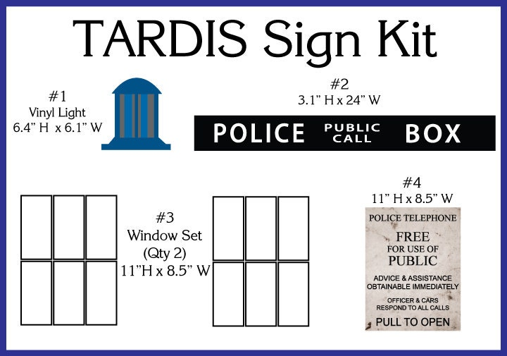 🔎zoom  sc 1 st  Etsy & TARDIS Door Sign Kit
