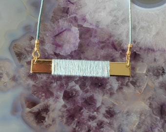 Rectangle Silk Bar and Thread Necklace - Mint/Gold