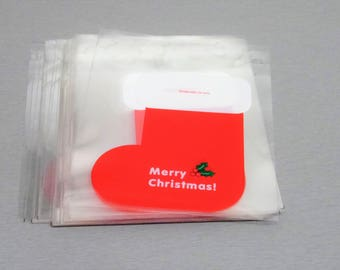 10 bags, bags, gift box Christmas self adhesive sock Santa for your creations