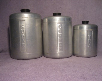 Vintage Steelmasters Inc. Canister Set Spun Aluminum  Set of Three Canisters   Made in Italy