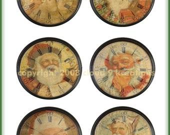 Altered Vintage Clock...Santa....Digital Collage Sheet