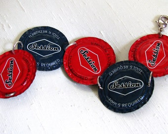 Bottle Cap Bracelet ~ Sessions Beer Cap Bracelet ~ Red and Blue Recycled Upcycled Funky - 8 inches