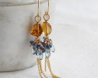 Gemstone tassel earrings, Gem cluster earrings with citrine, London blue topaz & iolite, Long gold statement earrings, Wire wrapped jewelry