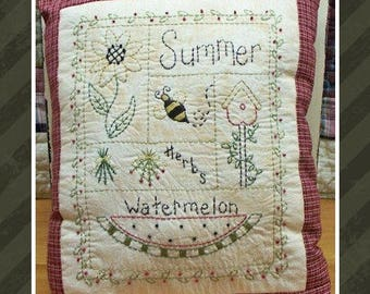 Summer Sampler-Primitive Stitchery E-PATTERN-by Primitive Stitches-Instant Download