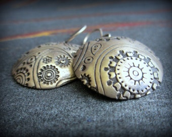 Handmade Jewelry-Unique Silver Dangle Earrings --handformed paisley design on silver with patina..aGiftofLaughter. tagt silver black white