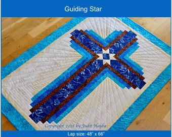 PDF - Log Cabin Cross - Guiding Star - lap quilt: 48 in. x 66 in.