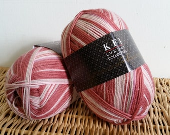 Sock Yarn, Cashmere, Luxury Sock, Self Striping, KFI Indulgence, Wool Blend Sock Yarn, 12 Strawberries and Cream