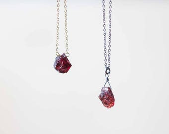 Small Raw Garnet Necklace on Gold Filled, Oxidized Sterling or Sterling Silver Chain, Raw Gemstone Necklace, Layering Rough Garnet Pendant