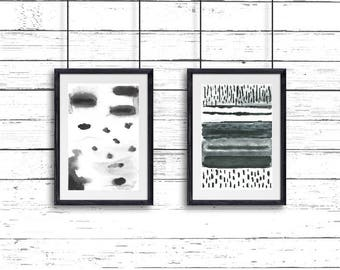Home Decor, Minimalist Wall Art, Original Painting, Watercolor Painting, Wall Decor, Modern Home Decor, Unique Gift, Set of 2 paintings