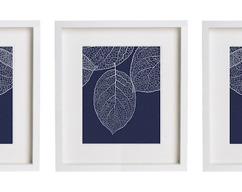 Navy Wall Art West Elm Leaf Print Set of 3 Botanical Prints
