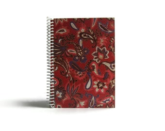Red Floral Paisley Notebook A5 Spiral Bound - Japanese Flowers, Blank Sketchbook, School Gift, Writing Journal Diary, Cute, Gift Under 25