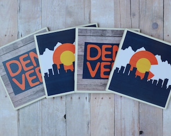 Denver Gift / Denver Coasters / Denver / Colorado Flag / Colorado Gift / Denver Sign / Denver Art / Colorado Coasters / Colorado / Denver