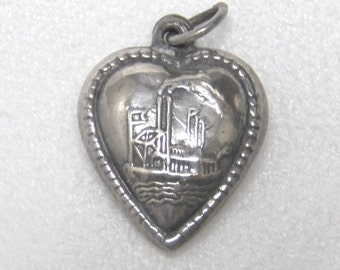 Puffy Heart Charm w/ Steamboat Sterling Silver