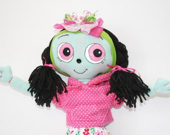 """Hand-crafted cloth doll 18"""" w/ outfit incl. skirt and ballet slippers made w/ recycled materials """"Too-Wan"""" by Mandy Wildman OOAK UNIQUE!"""