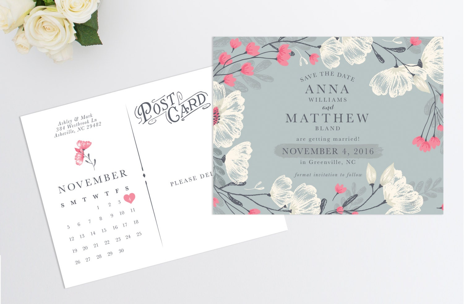 Save the Date Postcard Wedding Save the Date Wedding