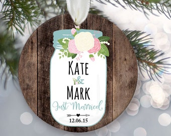 """Floral Mason Jar Personalized Christmas Ornament Just Engaged or Just Married Rustic fake """"Wood"""" Ornament Newlywed Gift Wedding Gift OR518"""